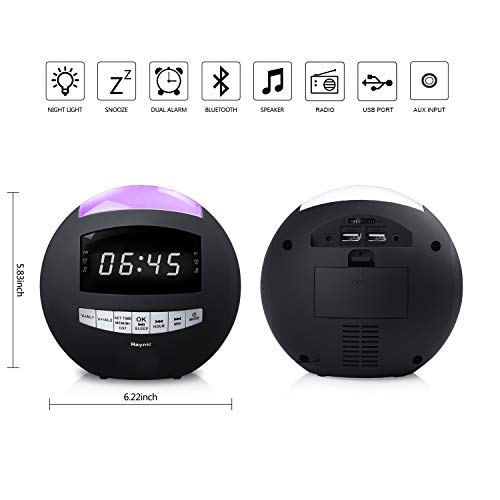 Alarm Clock Radio - Digital Clock with Dual Alarms, AM/FM Radio, Dual USB Charging Ports, 7-Color Night Lights, Bluetooth, Dimmer for Kids, Heavy Sleepers, Bedroom, Home