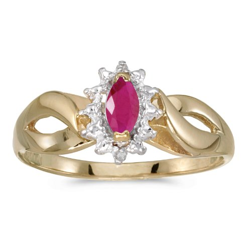 Jewels By Lux 14k Yellow Gold Marquise Ruby And Diamond Ring Size 7