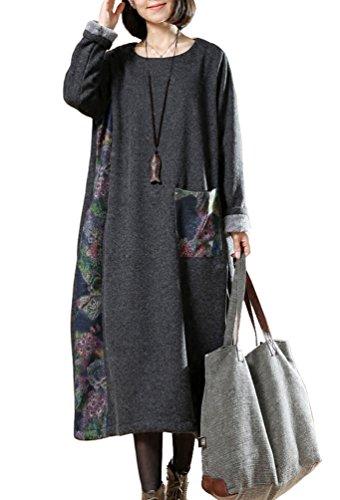 IDEALSANXUN Womens Thicken Warm Round Neck Long Sleeve Lined Fleece Dress Outerwear Loose Fit (Grey, One Size) (Lined Sleeve Long Sweater)