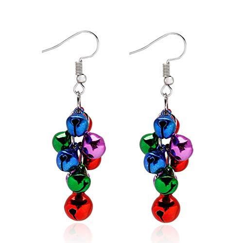 Christmas Dangle Earrings X-Mas Jingle Bells Chandelier Earrings Christmas Jewelry Gift for Women Girls