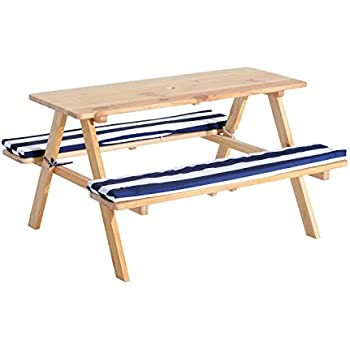 qaba wooden outdoor kids picnic table w padded benches
