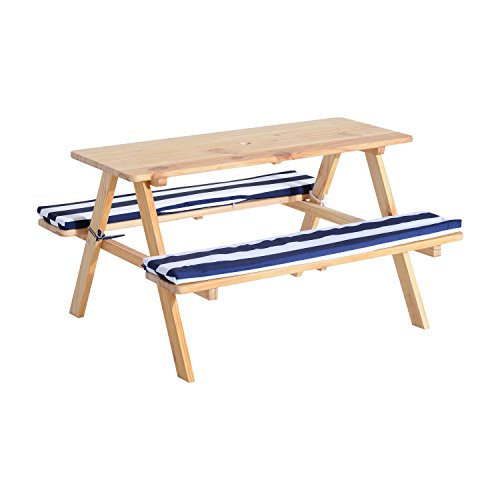 Qaba Wooden Outdoor Kids Picnic Table w/ Padded Benches
