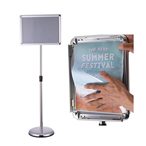 (Floor Standing Sign Holder Snap-Open Frame with Safety Corner Heavy Duty Pedestal Poster Sign Stand Advertisement/Wedding/Party Silver,11x17inches)