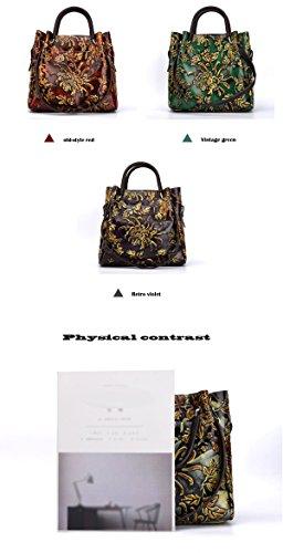 Gran Flores Bolsos Tendencia La cepillado Capacidad Estilo Tridimensionales De Mano Manera Verde Oblicuo Bolso Damas Retro De qwtUWWvT