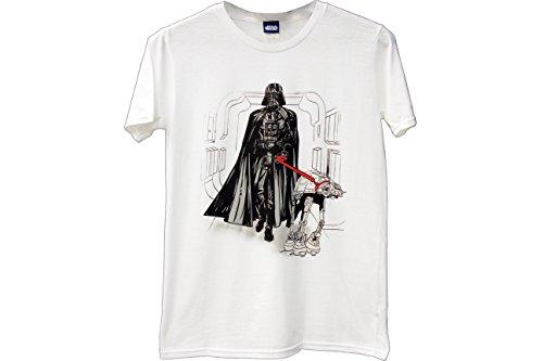 Star Wars Darth Vader Walking At-At Dog WHITE Adult T-shirt (Adult Small) ()