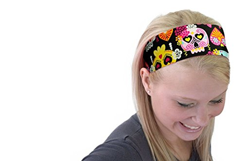 Cute Sugar Skulls Hearts and Bows Day of the Dead Soft Headband Cloth Headwrap ()