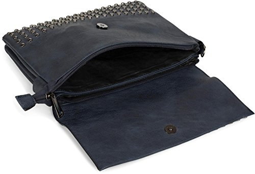 sac soirée couleur 02012227 avec Or anse à sac Bleu femmes Pochette styleBREAKER de bandoulière clous Nuit main EOw7g4qgX