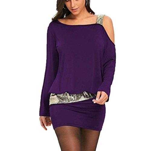 Lentejuelas Moda Mini Cazadora Sexy Negro Vestidos Hombro XL Tirantes Mujer LMMVP sin Mujer Bling Púrpura Frío Vestido Casual 1qq7EwPz