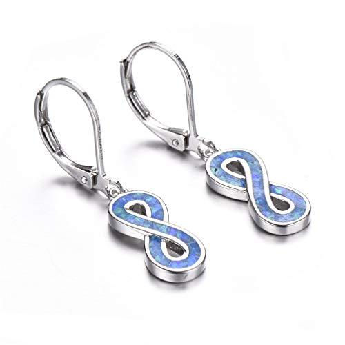 Australian Blue Fire Opal Hoop Earrings Lucky Number Eight for Women Girls, Birthstone Jewelry Birthday Gifts (Figure 8 Hoop Earrings)