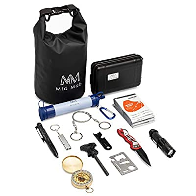 Mid Mab Survival Kit (12-Piece Set) Ultimate Tactical Gear | Camping | Hiking | Emergency | Water Filter Straw, Knife, Flashlight, Fire Starter, Compass, Wire Saw, Dry Bag by Mid Mab
