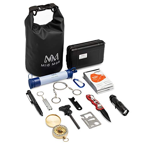 Mid Mab Survival Kit 12-Piece Set Ultimate Tactical Gear Camping Hiking Emergency Water Filter Straw, Knife, Flashlight, Fire Starter, Compass, Wire Saw, Dry Bag