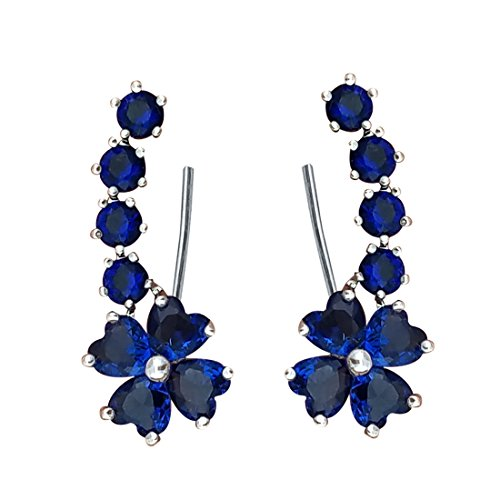 - YOQUCOL Woman Blue Sapphire-color Flower Shape Cubic Zirconia Crystal Cuff Wrap Ear Vines Climbers Earrings Jewelry For Girls
