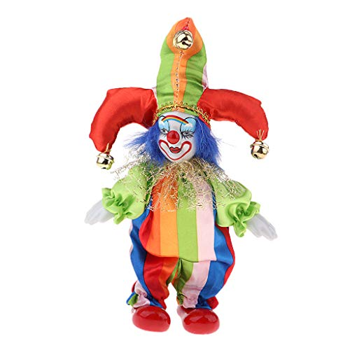 SM SunniMix 6inch Funny Clown Man Doll Wearing Colorful Costume Suit Halloween Ornament #4 -