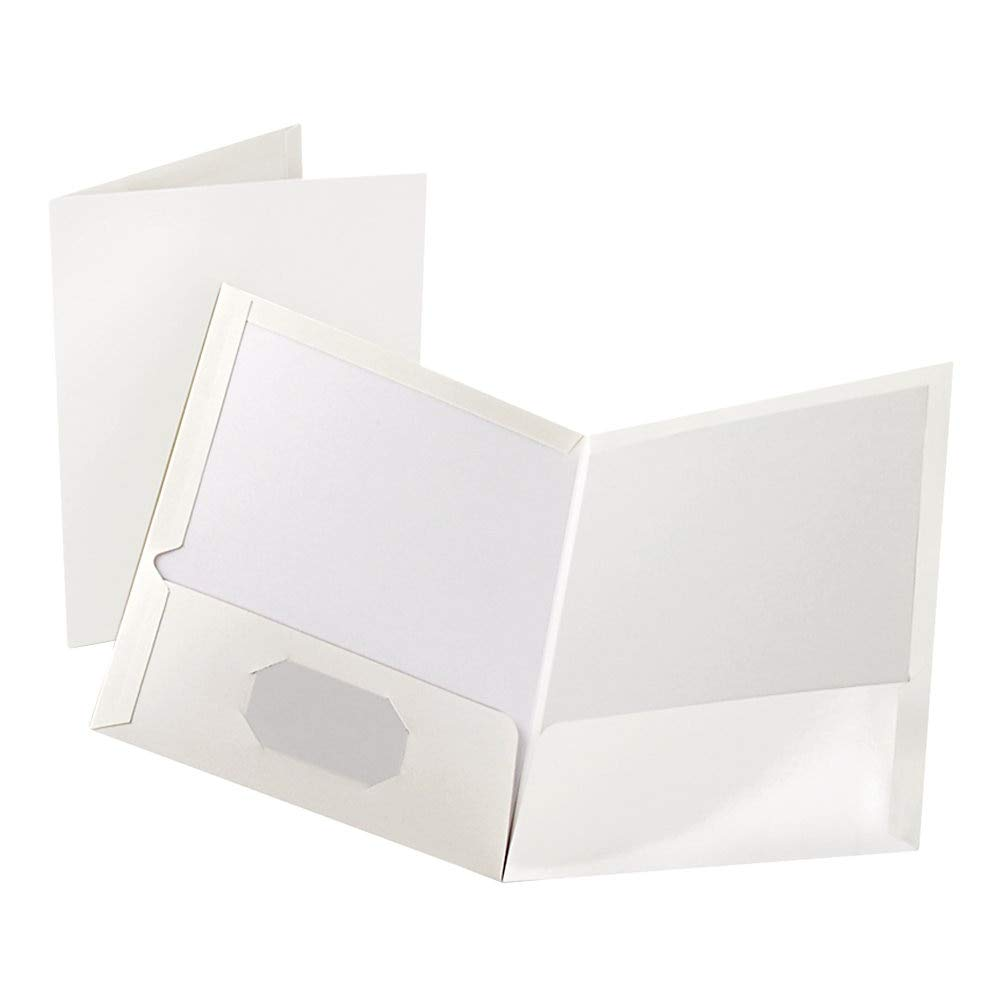 Oxford High Gloss Laminated Paperboard Folder, 100-Sheet Capacity, White by Oxford