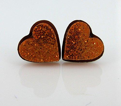 Stainless Steel Orange Glitter Acrylic Heart Stud Earrings -