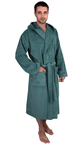 (TowelSelections Men's Hooded Robe, Cotton Terry Cloth Bathrobe Medium/Large Deep Sea)