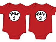 Nursery Decals and More Unisex Twin Onesies, Includes 2 Bodysuits, Twin 1 Twin 2, Womb Mates