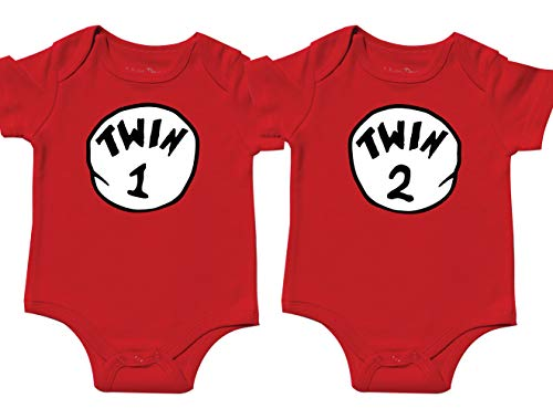 Nursery Decals and More Gender Neutral Baby Onesies, Includes 2 Bodysuits, 0-3 Month Twin 1 Twin 2