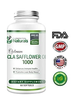 CLA Safflower Oil by Floraceutical Naturals | Potent, High-Quality Safflower Oil Pill's | High Levels of CLAs | Increase Metabolism, Lower Body Fat Mass, Build Lean Muscle Mass