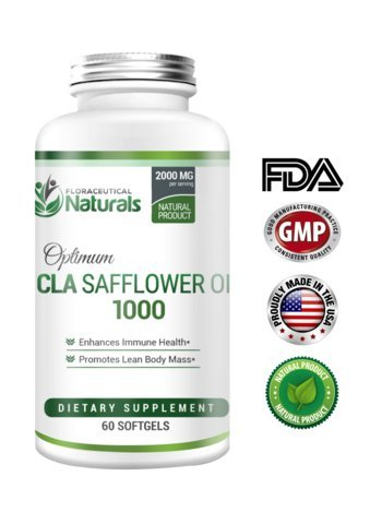 CLA safflower oil softgels by Floraceutical Naturals | Potent, High Quality Safflower Oil CLAs | Increase Metabolism, Lower Body Fat Mass, Build Lean Muscle Mass