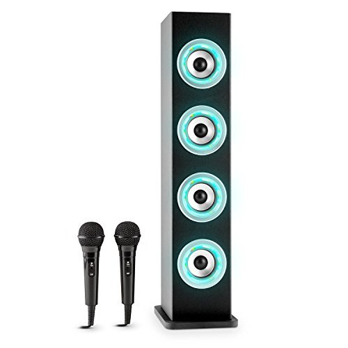 auna Karaboom LED Bluetooth-Lautsprecher Karaoke Anlage 2x Mikrofon Kinder Karaoke Set Lautsprecher Party Box (USB Player, AUX, UKW-Radiotuner, musiksensitiver Multicolor-LED- Beleuchtung in fünf Farben, Smartphone Handy Bluetooth Streaming) schwarz