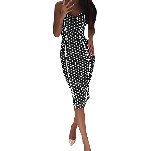 Sunhusing Ladies Sexy Cold-Shoulder Sling Bag Hip Dress Polka Wavy Dot Print Long Slit Hem Bodycon Dress Black