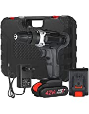 Extaum 21V Cordless Drill Dirve Kit 2 Speed Brushless Cordless Power Drill with 1x1.5Ah Batteries Fast Charger 15+1 Torque Setting Max Torque 30N.m 3/8