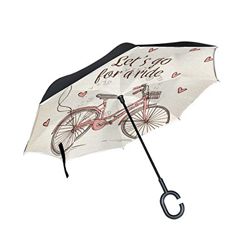 (Jojogood Hand Drawn Bike Inverted Umbrella Reverse Auto Open Double Layer Windproof UV Protection Upside Down Umbrella for Car Rain Outdoor Use)