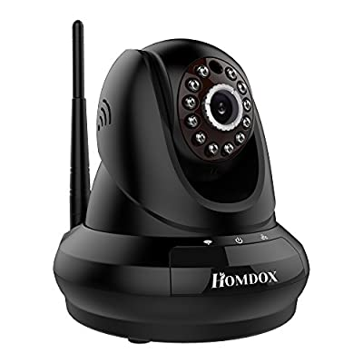 Homdox 1280 X 720p Hd, IP/Network ,Wireless, Video Monitoring, Surveillance, Security Camera, plug/play, Pan/Tilt with Two-Way Audio and Night Vision, Cloud Storage, Black