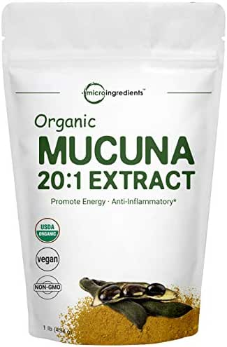 Maximum Strength Organic Mucuna Pruriens Extract 20:1 Powder (Contains Natural L Dopa),1 Pound, Promote Mood and Brain Health, No GMOs and Vegan Friendly