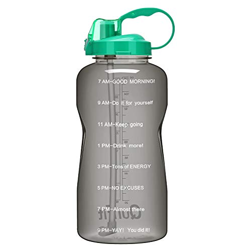 QuiFit Gallon Sport Water Bottle with Drinking Straw and Motivational Time Marker BPA Free Reusable 64/128 oz Large Capacity Ensure Your Daily Water Intake(Gray/Green 128 oz)