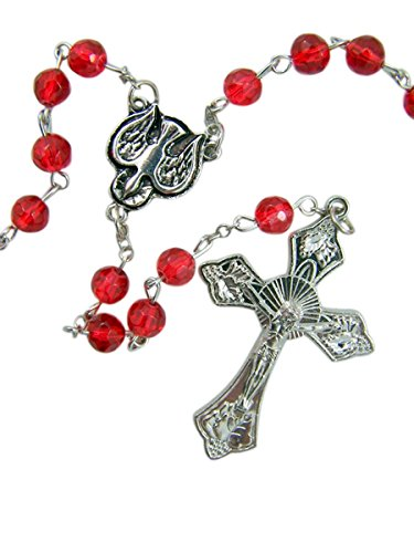 Glass Dove Necklace - Catholic Confirmation Red Glass Bead Rosary with Holy Dove Centerpiece, 20 1/2 Inch