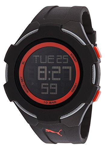 Puma Men's PU911061002 Black Silicone Quartz Watch with Digital Dial