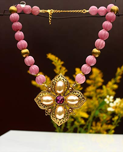 Maltese cross pendant pink glass 13mm fluted hand knotted melon beads and solid brass 11 mm bead 14 1/5