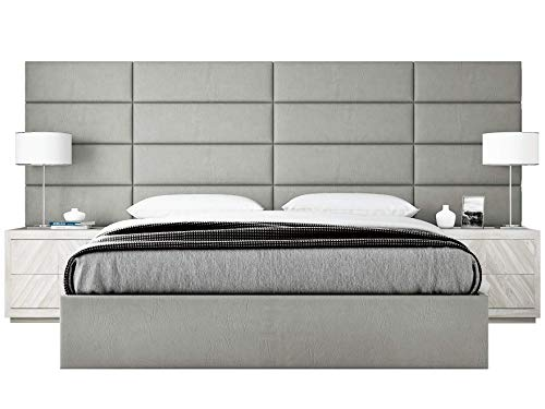 VANT Upholstered Headboards - Accent Wall Panels - Vintage Leather Light Grey - Twin - King Size Headboard - Set of 4 Panels. ()