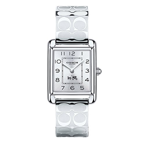 Coach Womens 14502159 Page Signature Silver Stainless Bangle Watch - Womens Rectangle Bangle Watch