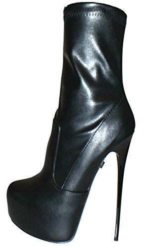 20 Schwarz Plateau Kunstleder 37 16 Ankle Boots EROGANCE High Heels Schwarz A5738 1zxOfqgBwP