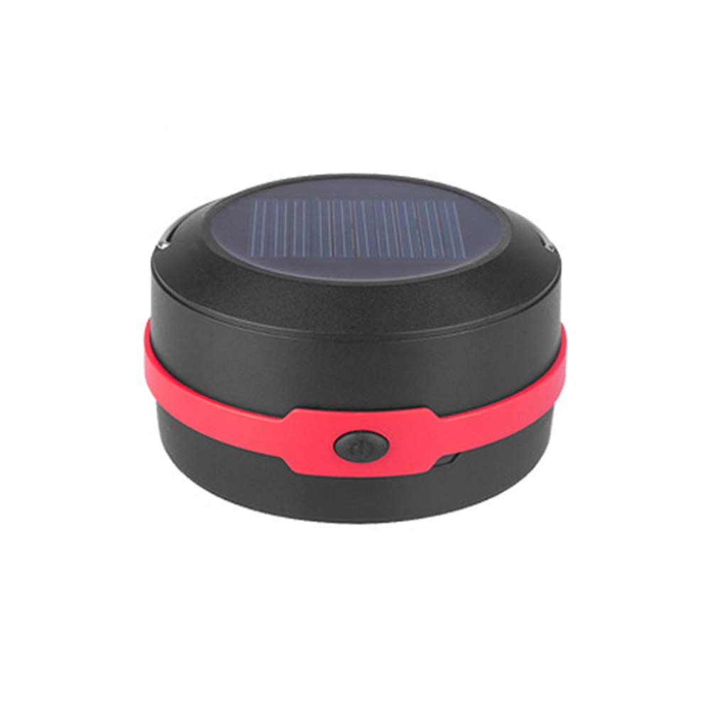Solar Camping Light Upgraded Flashlight Emergency Light Wear-Resistant Outdoor Portable USB Charging Folding LED Camping Light Contraction Hanging Plastic Tent Lamp Red Black