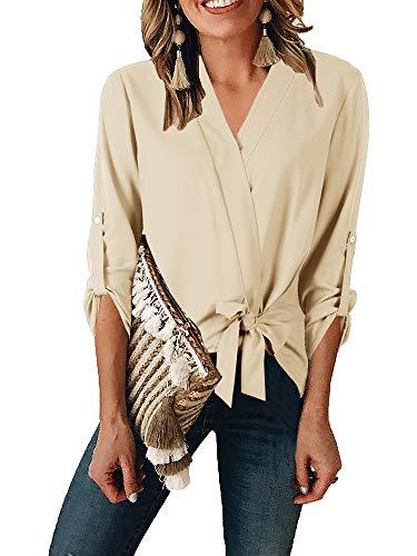 Tab Front Shirt - Niitawm Womens Wrap V Neck Shirts Roll Tab Sleeve Tie Knot Front Summer Chiffon T-Shirt High Low Blouses (5-Khaki, Small)