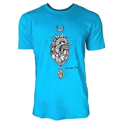 SINUS ART® Herz aus Stein mit Monden und Edelsteinen Herren T-Shirts in Karibik blau Cooles Fun Shirt mit tollen Aufdruck