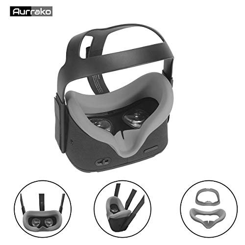 Aurrako Vr Face Pad for Oculus Quest Accessories, Silicone Cover Mask for Oculus Quest Face Cushion Cover Easy Wipe Clean Sweatproof Light Block (Grey)