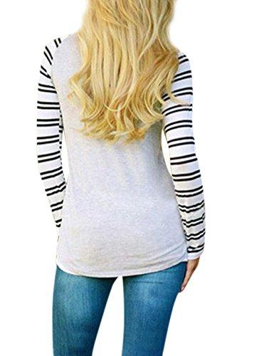 ZEARO Damen T-Shirt Bluse Pullover Kontrast Gestreifte Shirts O-Ansatz Hirsch Druck Slim Tops Oberteile