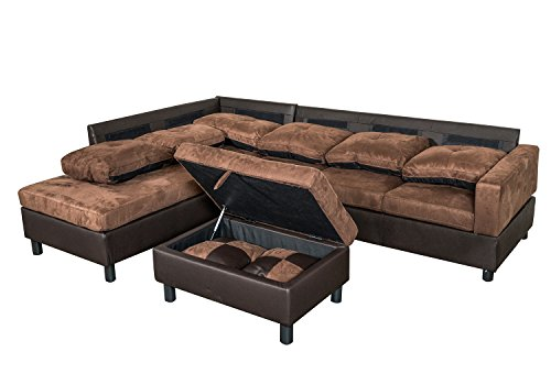 Legend 3 Piece, Microfiber and Faux Leather Right-Facing Sectional on brown tweed chaise lounge, brown sofas, brown microfiber couch, brown chaise lounge chair, brown wicker chaise lounge, brown leatherette chaise lounge, brown outdoor chaise lounge, brown pvc chaise lounge, brown woven chaise lounge, brown resin chaise lounge, brown microfiber futon, brown microfiber bar stool, brown microfiber living room sets,