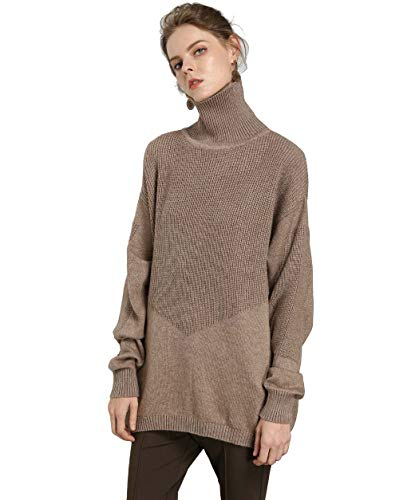 FINCATI Women's Sweater Pullover Turtleneck Cashmere Wool Soft Cozy Ribbed Elbow Oversized Long Sweaters Tunic (B-Camel, One Size)