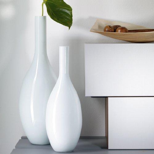 052455 handgefertigtes Farbglas Durchmesser 18 cm Leonardo Beauty Vase wei/ß H/öhe 50 cm