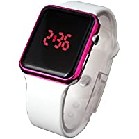 BROJET Square Figures Show Time Fashion Purple Girls watch Silicone Strap Gift