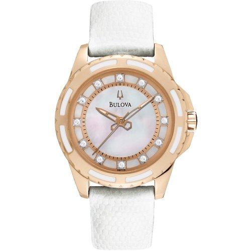 - Bulova 98P119 Ladies Diamond White Watch
