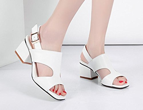 2017 2 summer sandals toe with women's rough leather female shoes heels new PBFOPxW