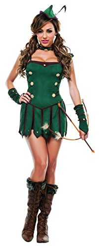 Robin Hood Ladies Fancy Dress (Starline Women's Lovely Robin Sexy 4 Piece Costume Dress Set, Green, Small)