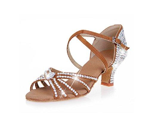 Shoe a Scarpe Sandali Ballroom Colori Delle Latino Donne Della Professionista Dance Satin altri Med 38 Salsa Ragazza Superiore aqBa7H